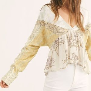 """Free People Floral Blouse """"Aloha State of Mind"""" L"""